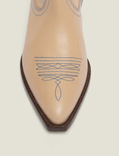Embroidered Leather Cowboy Boots : Summer Collection color Sand