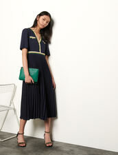 Long pleated dress with short sleeves : Dresses color Navy Blue