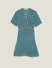 Short Printed Silk Dress : Dresses color Green