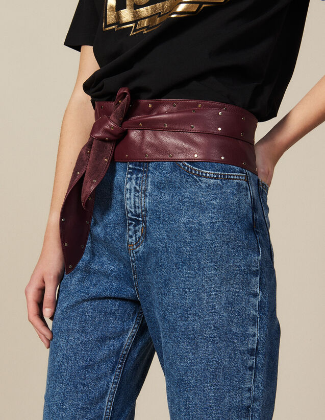 Smooth Leather Tie Belt : New In color Bordeaux