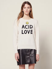 Sweater With Contrasting Lettering : null color Ecru