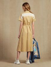 Striped Short-Sleeved Shirt Dress : All Selection color Beige
