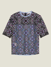 Dual Fabric Floral Guipure Lace Top : LastChance-ES-FPret-a-porter color Black