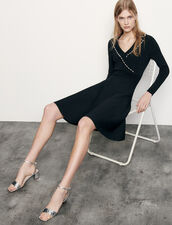 Short knit dress with tailored collar : Dresses color Black