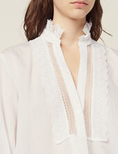 Blouse With Fine Lurex Stripes : All Selection color Ecru