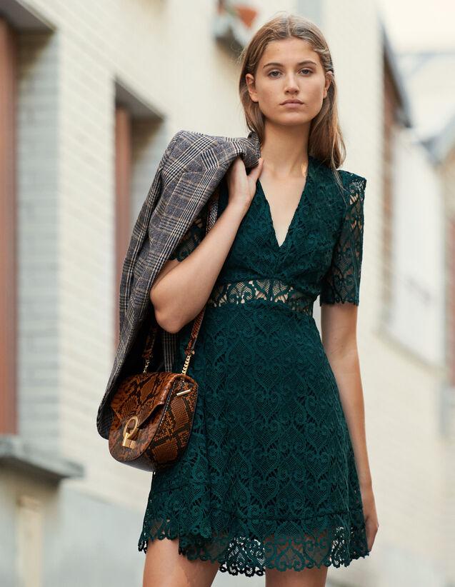 Short Dress Sweetheart Guipure Neckline : Dresses color Green