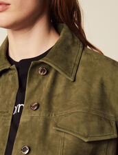 Leather Overshirt-Style Jacket : null color Olive Green