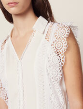 Midi Dress Decorated With Lace Trims : LastChance-FR-FSelection color Ecru
