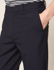 Carrot-Cut Trousers With Turn-Ups : Pants & Shorts color Navy Blue