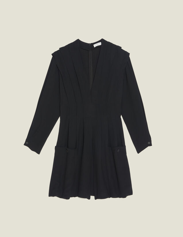 Short Flowing Dress With Pleats : null color Black