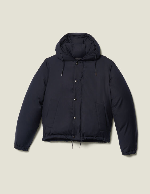 Short Padded Jacket With Hood : Trench coats & Coats color Navy Blue
