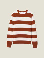 Sweater with large stripes : LastChance-IT-H50 color Off white/Rust
