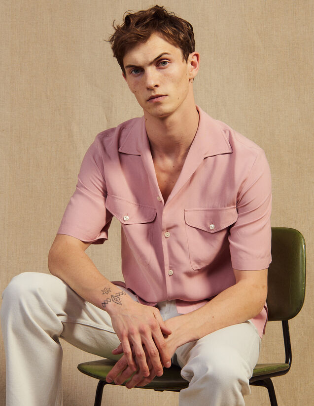 Flowing Short-Sleeved Shirt : Shirts color Light pink