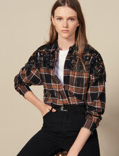 Checked Shirt With Western Embroidery : LastChance-ES-F40 color Camel/black