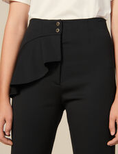 Tapered trousers with peplum : Pants color Black
