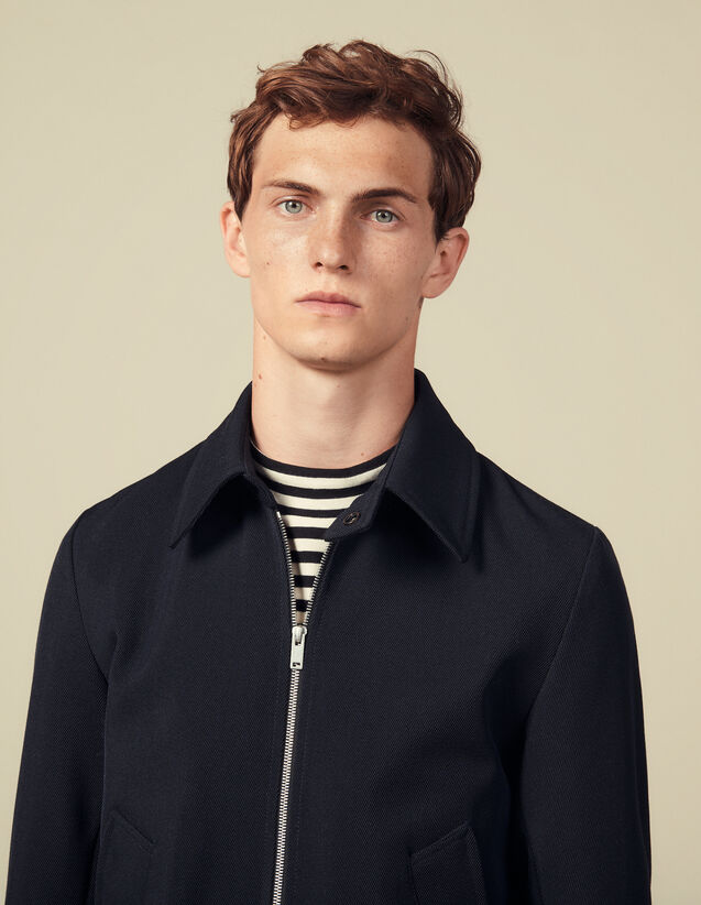 Zipped Jacket In Wool Serge : Blazers & Jackets color Navy Blue