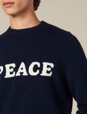 Wool And Cashmere Sweater With Message : Sweaters & Cardigans color Navy Blue