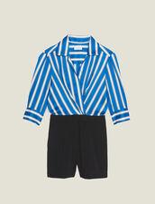 Dual Fabric Playsuit : Jumpsuits color Blue