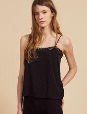Tone-On-Tone Jacquard Lingerie Top : null color Black