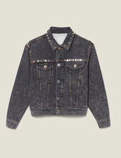 Snow Washed Denim Jacket With Studs : Blazers & Jackets color Black