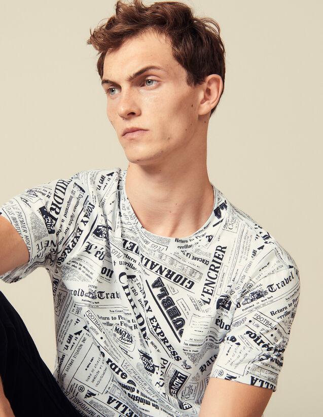 Newspaper Print T-Shirt : T-shirts & Polo shirts color White And Black
