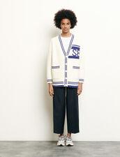 Oversized striped cardigan : Sweaters & Cardigans color Ecru