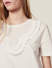 T-Shirt With Pleated Front Panel : null color white
