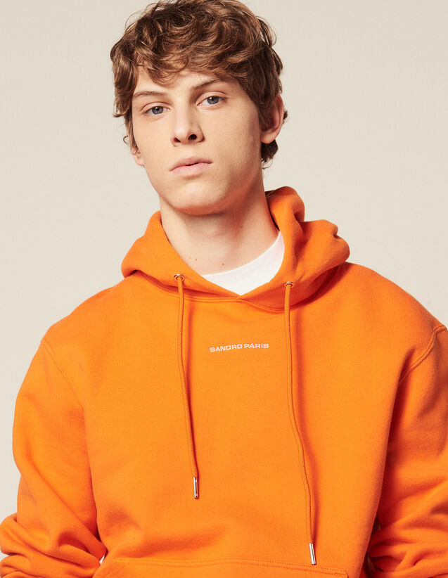 Hoodie Sweatshirt With Logo Embroidery : HAnciennesCollections color Orange