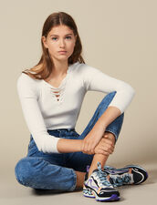 Sweater With Lace-Up Neckline : FBlackFriday-FR-FSelection-30 color white