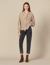 Printed flowing top, pussy bow collar : Tops & Shirts color Beige