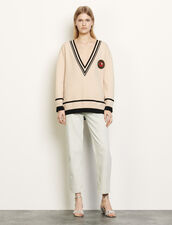 Oversized jumper with contrasting finish : Sweaters & Cardigans color Beige / Black